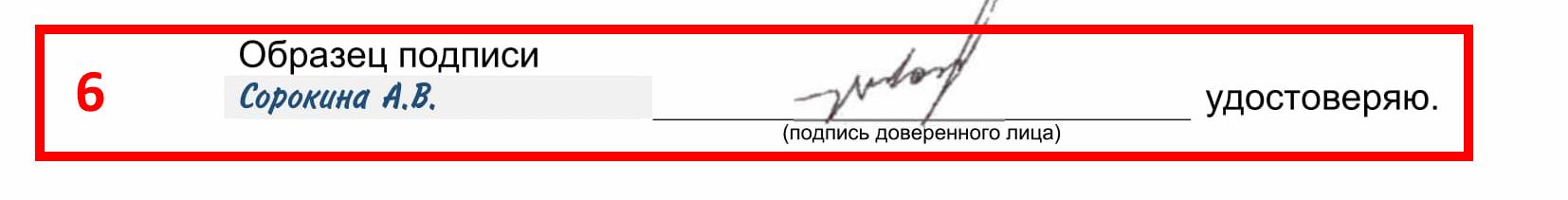 Образец подписи доверенного лица